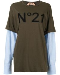 N°21 Многослойная Футболка С Логотипом - Зеленый
