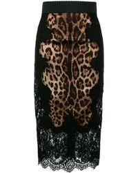 Dolce & Gabbana Leopard Print Pencil Skirt - Brown