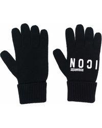 DSquared² ロゴエンブロイダリー ニット手袋 - ブラック