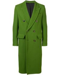 AMI Patched Pockets Double-breasted Long Lined Coat - Green