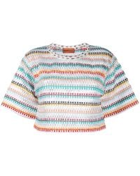 Missoni Striped-crochet Cropped T-shirt - White