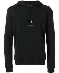 Saint Laurent - Signature Cropped Hoodie - Lyst