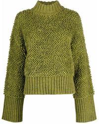 The Attico Textured High-neck Jumper - Green