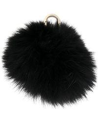 Yves Salomon Pom Pom Bag Charm - Black