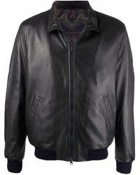 Etro Funnel Neck Leather Jacket - Blue