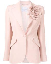 Ermanno Scervino Блейзер С Цветочной Аппликацией - Розовый