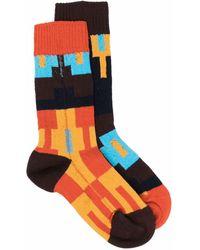Sacai Colourblock High-ankle Socks - Orange