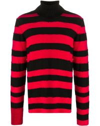 DIESEL Jersey de rayas con cuello vuelto - Rojo