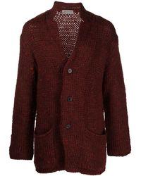 Yohji Yamamoto Buttoned-up Wool Cardigan - Red