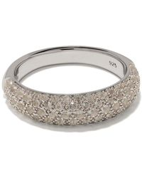 Tom Wood Liz Chunky Band Crystal Embellished Ring - Metallic
