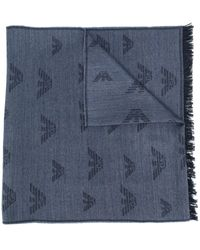 Emporio Armani Fular con motivo del monograma - Azul