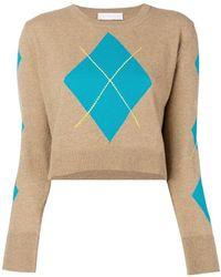 Giada Benincasa - Cropped Argyle Sweater - Lyst