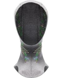 Paco Rabanne Floral-embroidered Wool Head Scarf - Gray
