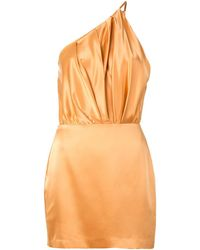 Michelle Mason One Shoulder Silk Dress - Metallic