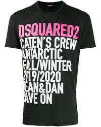 DSquared² T-shirt Met Slogan Print - Zwart