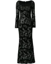 Talbot Runhof - Embroidered Velvet Gown - Lyst