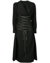 Yohji Yamamoto タイウエスト ドレス - ブラック