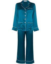 Olivia Von Halle Zijden Pyjama - Blauw