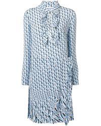 Prada Printed Shift Dress - Blue