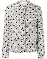 Valentino Roman Stud Tweed-Jacke mit Polka Dots - Weiß
