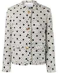 Valentino Roman Stud Polka-dot Tweed Jacket - White