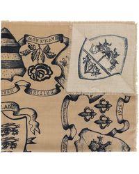 Kent & Curwen Floral Print Scarf - Brown