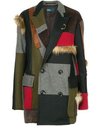 Kolor Contrasting Panels Coat - Multicolour