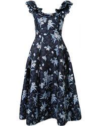 Delpozo フローラル ラッフル ドレス - ブルー