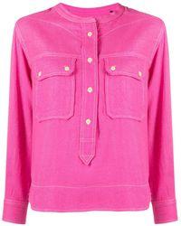 Isabel Marant ノーカラー デニムシャツ - ピンク