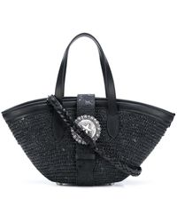 KATE CATE Western-plaque Straw Tote - Black