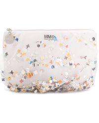 MM6 by Maison Martin Margiela Tulle Confetti Clutch - White