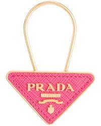 Prada Saffiano Leather And Metal Keychain - Pink