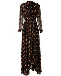 EVA Papilio プリント ロングドレス - ブラック