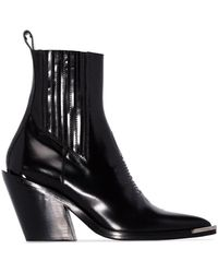 Paco Rabanne Leather Ankle Boots - Black