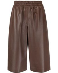 Peserico Elasticated Leather Shorts - Brown