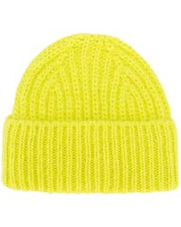 Closed Ribbed Beanie Hat - Yellow