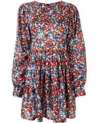 LHD Floral Print Mini Dress - Red