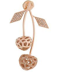 Natasha Zinko 14kt Rose Gold And Diamond Mini Cherry Earring - Metallic