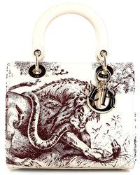 Dior Сумка Lady Dior Toile De Jouy Pre-owned Среднего Размера - Белый