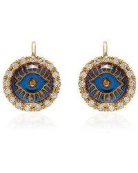 Ileana Makri Womens Metallic 18k Yellow Gold Eye Diamond Earrings