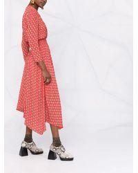 Maje Vestido midi con monograma estampado - Rojo