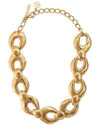 Oscar de la Renta Hammered Link Necklace - Metallic