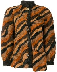 Dior Pre-owned Patchwork Shearling Coat - Brown