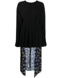 Natasha Zinko Combo Knife Pleat Dress - Black