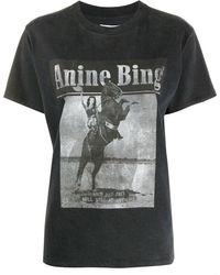 Anine Bing グラフィック Tシャツ - ブラック