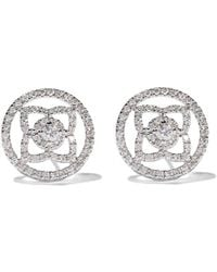 De Beers 18kt White Gold Enchanted Lotus Openwork Diamond Stud Earrings - Multicolor
