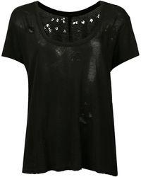 Unravel Project ダメージ シアー スクープネック Tシャツ - ブラック