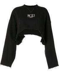 N°21 Укороченная Толстовка С Логотипом - Черный