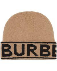 Burberry Intarsien-Beanie mit Logo - Braun