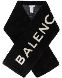 Balenciaga Шарф С Логотипом Из Овчины - Черный
